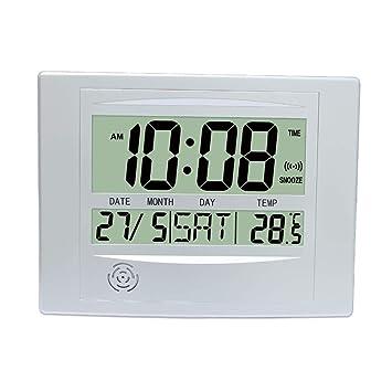 GJH Reloj Despertador LCD, Reloj De Pared Digital Simple Reloj De Escritorio con Alarma Posponer Temperatura Calender Hora Fecha Día De La Semana para Uso ...