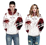 Halloween Costume Blood Drop Blood Seal Couple Husband and Wife Hooded Stretch Sweater