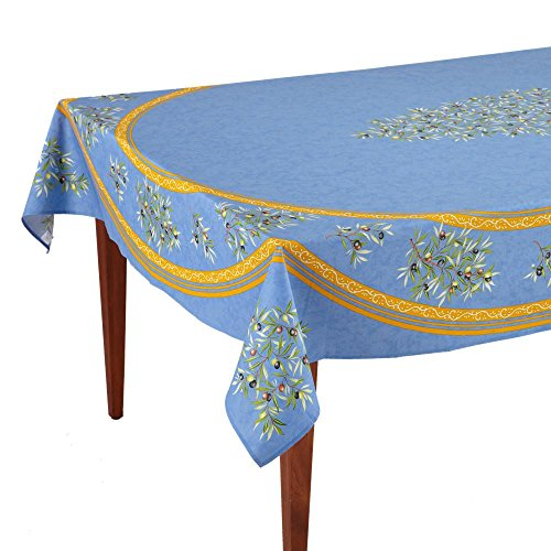 Occitan Imports Clos des Oliviers Bleu Rectangular French Tablecloth, Coated Cotton, 63 x 98 (6-8 people)