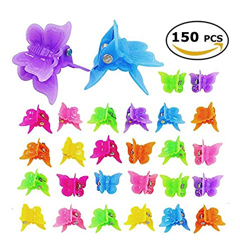 150 Pack Small Mini Butterfly Claw Hair Clips, Girls Beautiful Mini Butterfly Hair Clips Petal Hair Accessories for Girls and Women, 20 Assorted Color ()