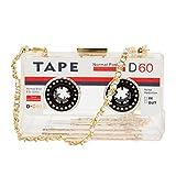 Zarapack Cassette Tape Hard Case Transparent Bag Purse Clutch (Clear)