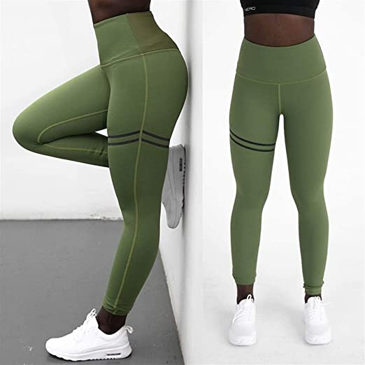 Cintura alta Pantalones de yoga push up Mujeres Leggings ...