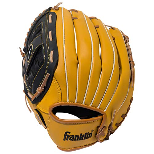 Franklin Sports Baseball Glove - Left and Right Handed Baseball and Softball Fielding Glove - Synthetic Leather Field Master Baseball Glove - 12.5 Inch Left Hand Throw (Best Leather For Baseball Gloves)