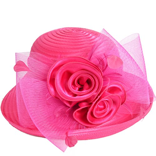 Womens Tea Party Church Baptism Kentucky Derby Dressy Hat (Rose),Medium  56-58cm