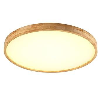 Color : Warmes Licht-45CM SJUN Holzdecken Leuchte Ultra-d/ünne Runde Deckenleuchte verstellbares Licht mit Fernbedienung LED Schlafzimmer Eiche Deckenleuchte Retro Licht Innenbeleuchtung