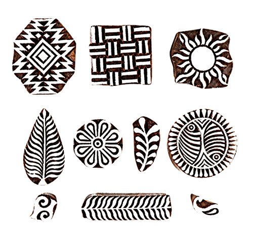 Handled Vegetable Bowl (Hashcart Baren for Block Printing Stamps/Wooden Stamping Block/Handcarved Designer Craft Printing Pattern for Saree Border,Henna/Textile Printing,Scrapbooking,Pottery Crafts & Wall Painting,Set of 10)