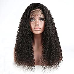 360 Lace Frontal 180% Density Brazilian Virgin Water Wavy Human Hair Wigs For Black Women With Baby Hair 18 inch ,Natural Color