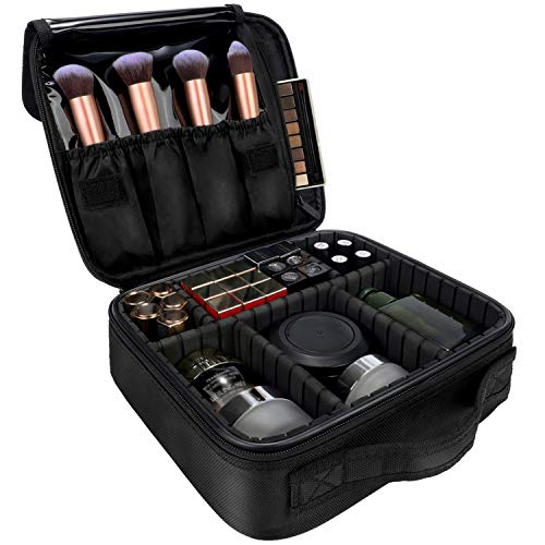 Travel Makeup Case 3-Layers Cosmetic Case Organizer Portable Artist Storage Bag with Adjustable Dividers and shoulder strap for Cosmetics Makeup Brushes Toiletry Travel Accessories…