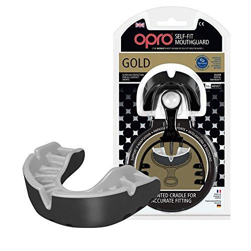 OPRO Sports Mouthguards - Gold Level Moldable Adult Mouthguard for UFC, Lacrosse, Basketball, Football, MMA, Kickboxing, , Ice Hockey, Boxing, Jiu Jitsu, Contact Sports (Black)