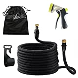 OKPOW Garden Hoses 100ft Expandable Water Hose Pipes Anti-burst Non-kink Natural Latex Pipe with Brass Fitting 8 Sprayers Nozzles for Garden Watering Car Washing Cleaning Pets Hose Black