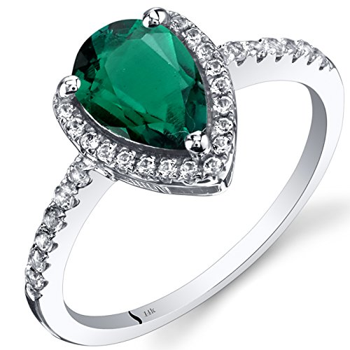 14K White Gold Created Emerald Open Halo Ring Pear Shape 1.25 Carats Size -