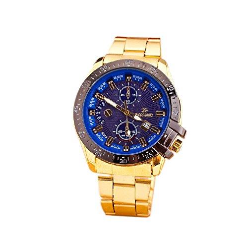 TODDCAHALAN Luxury Men Stainless Steel Gold Date Clock Analog Quartz Wrist Watch Blue