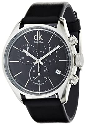 Calvin Klein Men's 'Graceful' Swiss Quartz Stainless Steel and Leather Automatic Watch, Color:Black (Model: K2H27102)