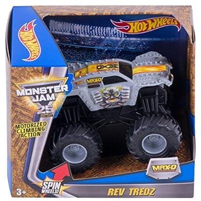 Hot Wheels Monster Jam Rev Tredz Max-D Vehicle, Silver: Toys & Games