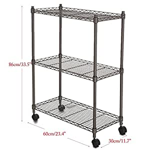 homdox adjustable heavy duty wire shelving system unit on wheels gray 3 tier grey. Black Bedroom Furniture Sets. Home Design Ideas