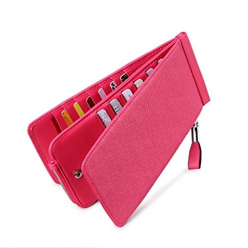 Aeccez Rfid Blocking Womens Genuine Leather Zipper Slim Wallet Long Style Clutch Bag Handbag Multi Credit Card Holder Checkbook Purse Money Clips For Women Ae-116 Rose Ae-116-rose