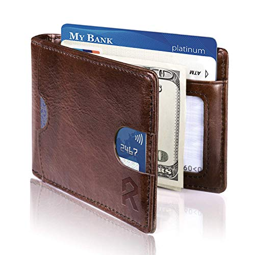 REYLEO Bifold Wallets Front Pocket Minimalist Leather Slim Wallet RFID Blocking Genuine Leather Wallets Card Case with Money Clip Brown