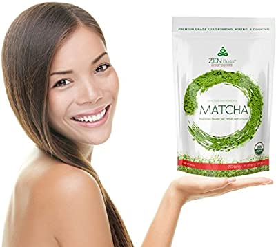 Matcha Green Tea Powder - Ceremonial - Premium Quality, Color & Taste, Antioxidant, Best for Drinking Tea, Baking, Blending, Skincare - For Weight Loss, Energy, Mental Focus - Organic, Sugar Free(4oz)