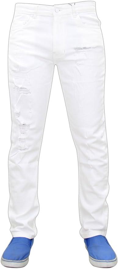 Jeans Uomo Slim Fit Strappati Elastici Pantaloni Strappi Skinny Aderenti bianco