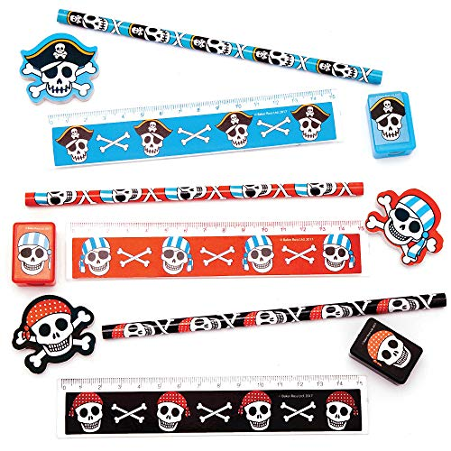 Baker Ross Pesty Pirates 4 Piece Stationery Sets for Children (Pack of 3 - Red, Blue and Black) - Fun Party Bag Stuffer Gifts for Kids ()