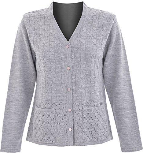Maan Store - Cárdigan - para mujer gris