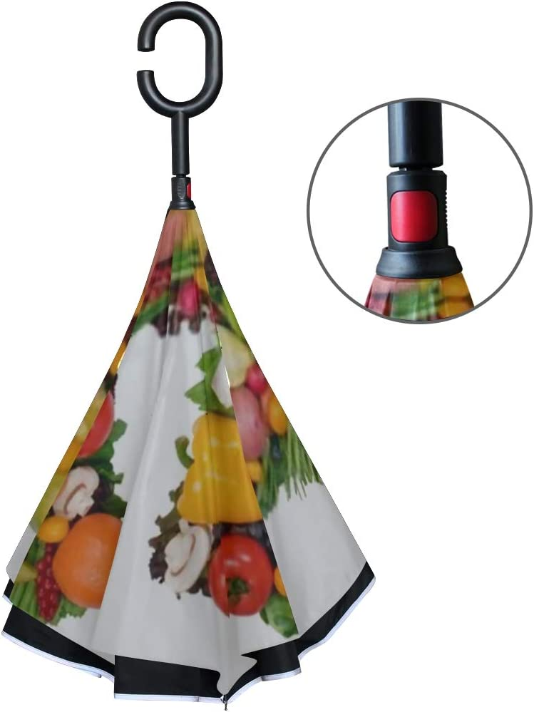Double Layer Inverted Inverted Umbrella Is Light And Sturdy Alphabet Health H Reverse Umbrella And Windproof Umbrella Edge Night Reflection