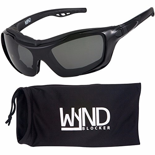 WYND Blocker Polarized Riding Sunglasses Extreme Sports Wrap Motorcycle Glasses (Black / PZ - Sunglass Motorcycle