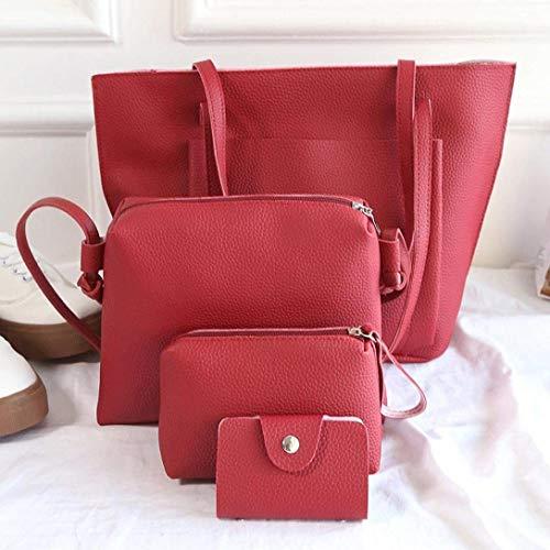 Borsa tote a a Borsa donne Rosa rosso Moontang Dimensione borsa quattro Rosso tracolla Colore a tracolla tracolla borsa dABq1g