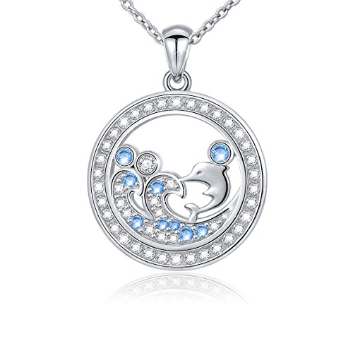925 Sterling Silver Cubic Zirconia Dolphin Ocean Wave Pendant Necklace Rolo Chain 18'' (Style 3) 18' Rolo