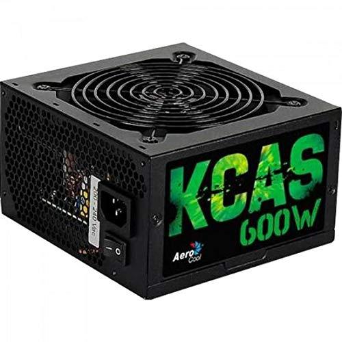 Aerocool KCAS 600W - Fuente de alimentación (600W, 115-230V, 47-53 Hz, 12 cm, 20+4 Pin ATX, PC), Negro