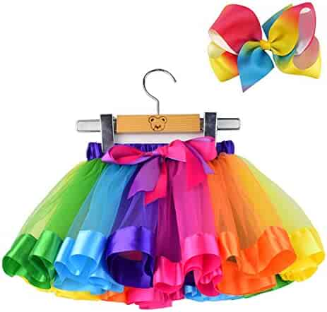 BGFKS  Layered Ballet Tulle Rainbow Tutu Skirt for Little Girls Dress Up with Colorful Hair Bows (Rainbow, L,4-8 Age)