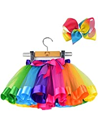 Layered Ballet Tulle Rainbow Tutu Skirt Little Girls Dress up Colorful Hair Bows