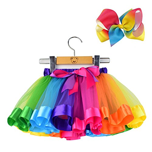 Bingoshine Layered Ballet Tulle Rainbow Tutu Skirt for Little Girls Dress Up with Colorful Hair Bows (Rainbow, L,4-8 Age)