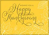 Thanksgiving Greeting Cards - TH1506. Business Greeting Card with a Sketched Outline of Leaves and Happy Thanksgiving. Box Set Has 25 Greeting Cards and 26 White with Gold Foil Lined Envelopes.