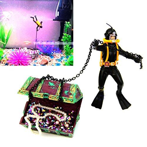 NUMBERNINE, Hunter Treasure Figure Action Fish Diver Tank Ornament Aquarium Decor Landscape,Fish aquarium decorations
