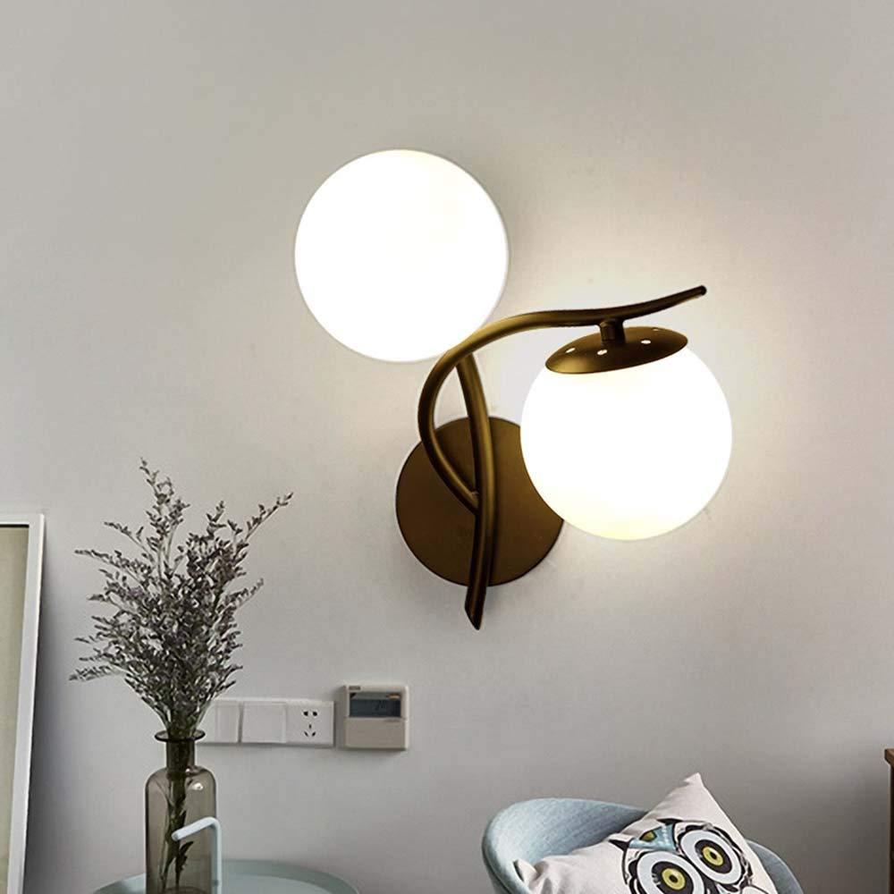 Wandleuchte - im nordischen Stil Eisen LeuchtenKörper Glasschirm Doppel Kopf Wand Lampe Wohnzimmer Gang Wandleuchten kreative Lampen (Schwarz Gold) - wall Beleuchtung Dekoration (Farbe  1)