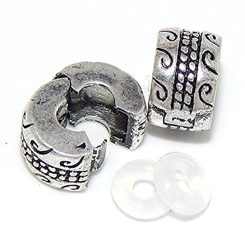 Pandora Rope (Pro Jewelry Set of 2 Swirl and Rope Beads Compatible with European Snake Chain Bracelets)