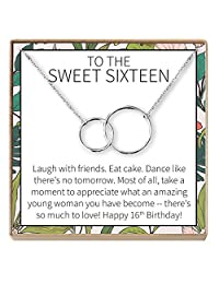 Dear Ava Sweet 16 Gift Necklace: Sweet Sixteen, 16th Birthday, Gift for Her, 2 Interlocking Circles