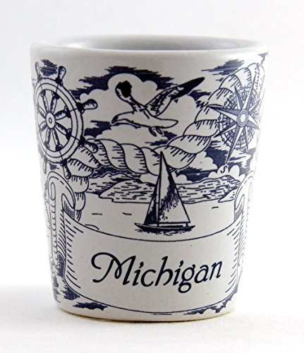 Michigan Nautical Pencil Sketch Ceramic Shot Glass (Michigan Shot Glass)