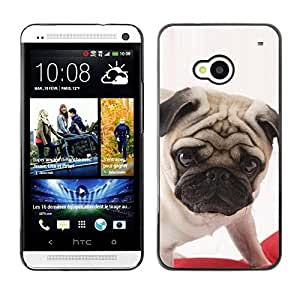 PC/Aluminum Funda Carcasa protectora para HTC One M7 Pug British Puppy Dog Breed Canine / JUSTGO PHONE PROTECTOR