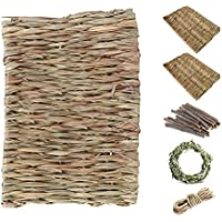 Lifebea Natural Pet Straw Mattress Set - Pet Cage Accessories - Interactive and Innovative Woven Grass Accessories for…