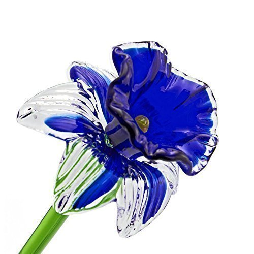 FREE SHIPPING to the lower 48 when you spend over $35.00 Life Size 20 long One-of-a-kind Blue Glass Daffodil Flower