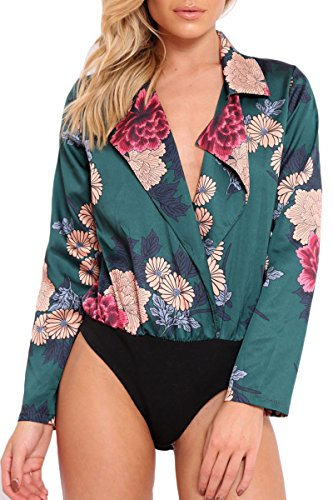 Silk Halter Jumpsuit - Belypoe Plus Size Floral Printed Cross V Neck Jumpsuit Rompers Women Green XL