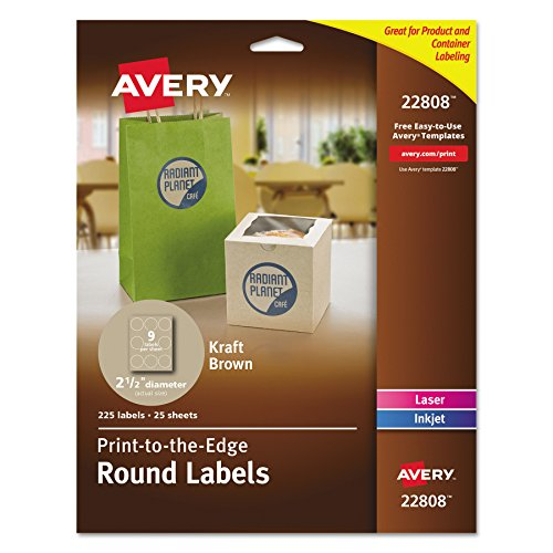 Avery Print-To-The-Edge Kraft Brown Round Labels - 2-1 2 Inch - Pack of 225 (22808)