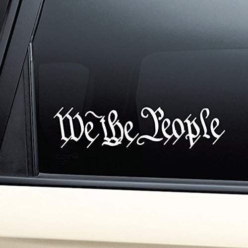 We the People United States Constitution Vinyl Decal Laptop Car Truck Bumper Window Sticker (People Decal Vinyl)