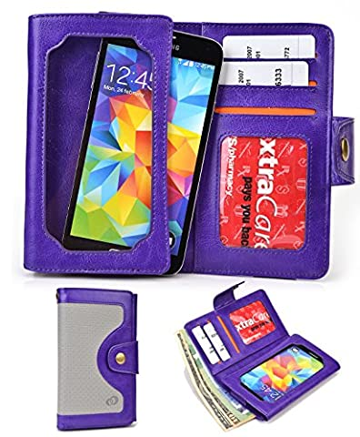 Purple Universal Cell Phone Smartphone Wallet Case fits Maxwest Astro X5|NuVur (Maxwest Phone Case)