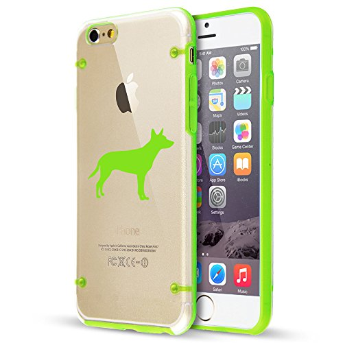 (For Apple iPhone Hybrid Slim Clear Hard TPU Bumper Case Cover Australian Kelpie (Green For iPhone 6 / 6s) )