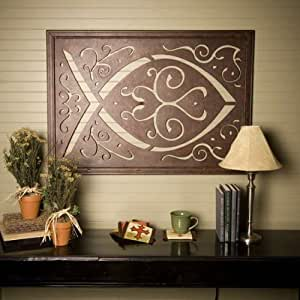 metal wall hanging large ichthys ichthus icthus christian home decor kitchen. Black Bedroom Furniture Sets. Home Design Ideas