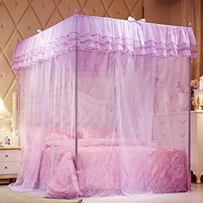 Mosquito Net£¬Bed Canopy-Beige Lace Luxury 4 Corner Square Princess Fly Screen,Indoor Outdoor