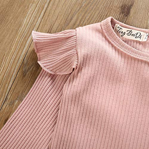 Toddler Pants Clothes Outfits Set Girls,Fineser Newborn Kids Baby Girls Ruffles Plain Romper+Bow Striped Wide Leg Pants